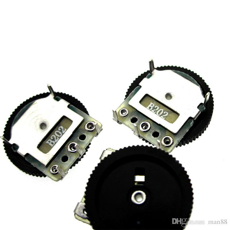 Gear Dial Potentiometer B202 B2K Single 3pin 14*2mm