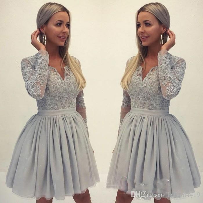 Lila 2019 Homecoming Kleider A-linie Mit Langen Ärmeln Perlen Short Mini Elegante Cocktail Kleider Abschlussballkleider