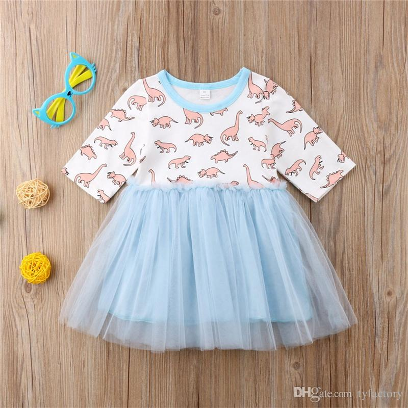 Cute Baby Girl Half Sleeve Dinosaur Blue Tutu Dresses Cute Girls Princess Animal Vestidos Tulle Dress Clothes Toddler Kid Clothing Boutique