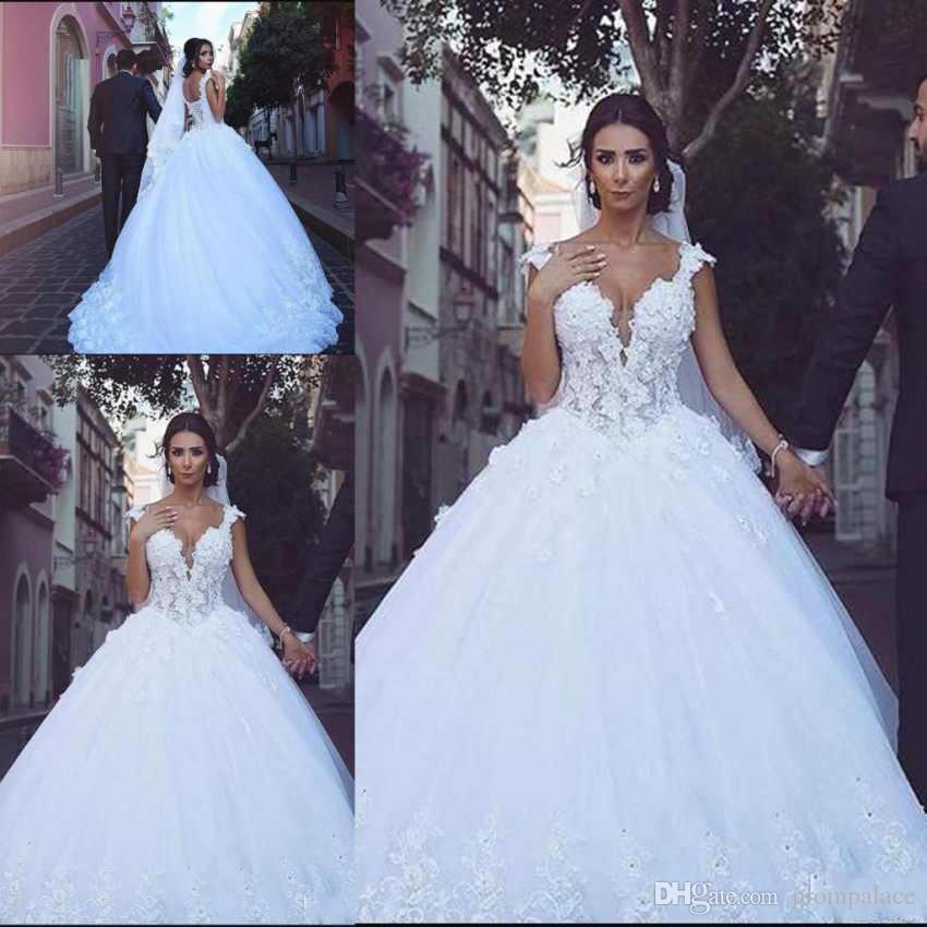Gã¼Nstige Brautkleider Online | Grosshandel Online Spitze Backless Arabisch Brautkleider Cap Sleeves