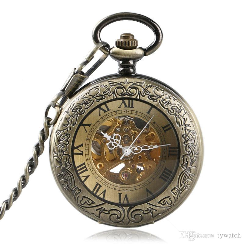 Vintage Transparent Cover Gold Steampunk Skeleton Automatic Mechanical Roman Numerals Compass Dial Pocket Watch Necklace Children Xmas Gift