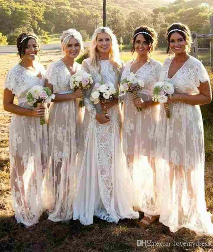 0d491ee825 Country Lace Bridesmaid Dresses Long Cheap 2018 White With Short Sleeves  Unique Skirt Designer V Neck Prom Wedding Guest Dress Cream Bridesmaid  Dresses Dark ...