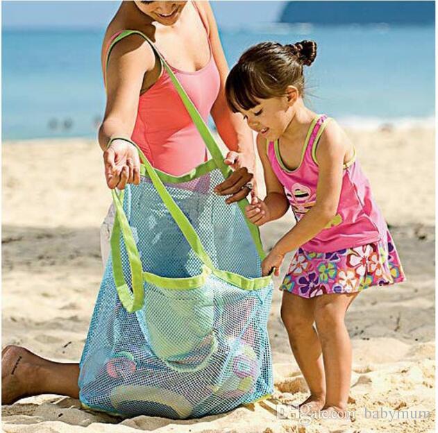 45 * 30 * 45CM الطفل أكياس تخزين شبكة شاطئ الرمال بعيدا الطفل شاطئ شل يد المحمولة شاطئ الأطفال أداة الرمل أكياس التخزين