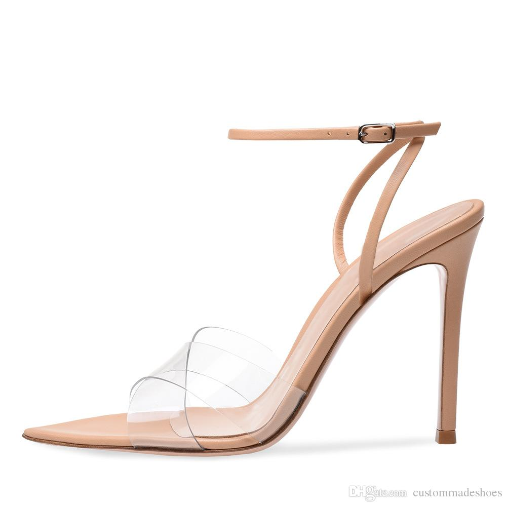 1ec159035fa7a Newest 2018 Summer Transparent Sandals Super Sexy Pointed Toe Brand Design Shoes  Women Narrow Band High Heels Sandals Ladie Shoe Brown Wedges Gold Wedges ...