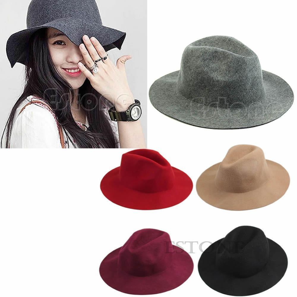 2018 Fashion Women Vintage Wide Brim Wool Felt Hat Classical Flop ... d95227e8e91f