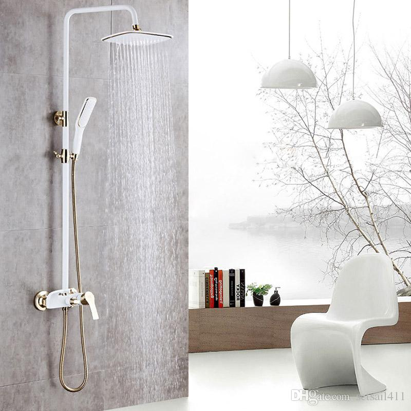 2018 Wall Mounted Shower Faucet White Luxury European Style Gold ...