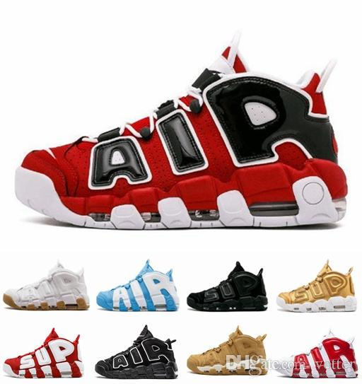 the latest 38340 d1a24 Air More 96 QS Olympic Varsity Maroon Mens Womens Basketball Shoes CHI Sup Black  Gold Airs 3M Scottie Pippen Uptempo Sports Sneakers 36 46 Kd Basketball ...