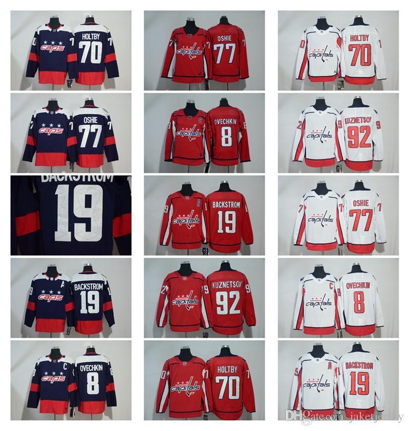 d65859b29 Cheap 2018 Washington Stanley Cup Champions Capitals 8 Alex Ovechkin 77  T.J. Oshie 19 Nicklas Backstrom 70 Braden Holtby 92 Kuznetsov Jerseys