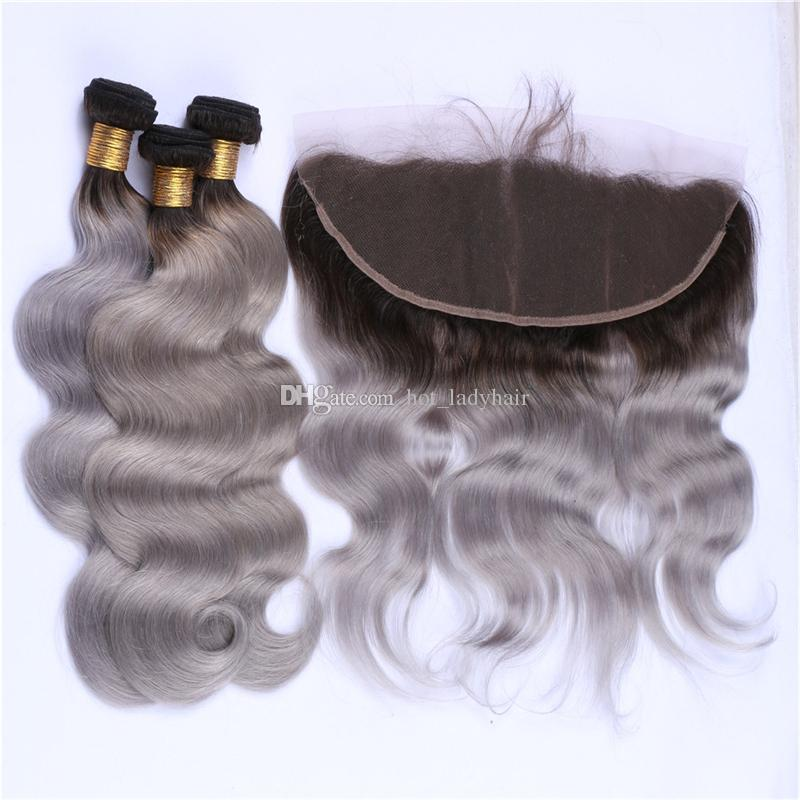 Indian Grey Virgin Hair 3 Bundles with Frontal Lace Closure Dark Roots Gray Ombre Body Wave Indian Human Hair Weaves with Lace Frontal