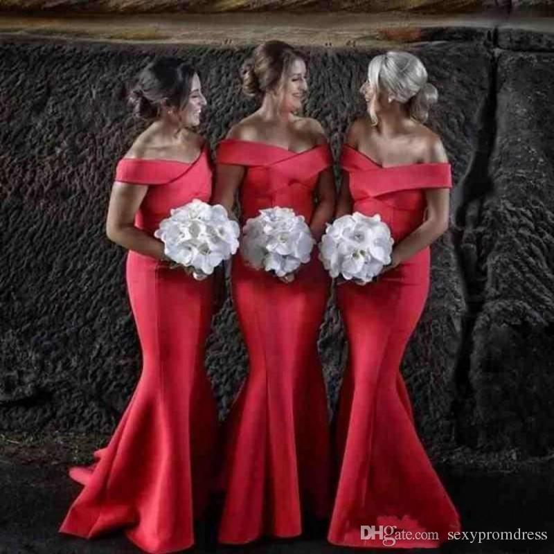 b4ffc495943b4 Elegant Red Mermaid Bridesmaid Dresses 2018 Satin Off The Shoulder Maid Of  Honor Gowns For Wedding Women Formal Party Dress Cheap Merlot Bridesmaid  Dresses ...