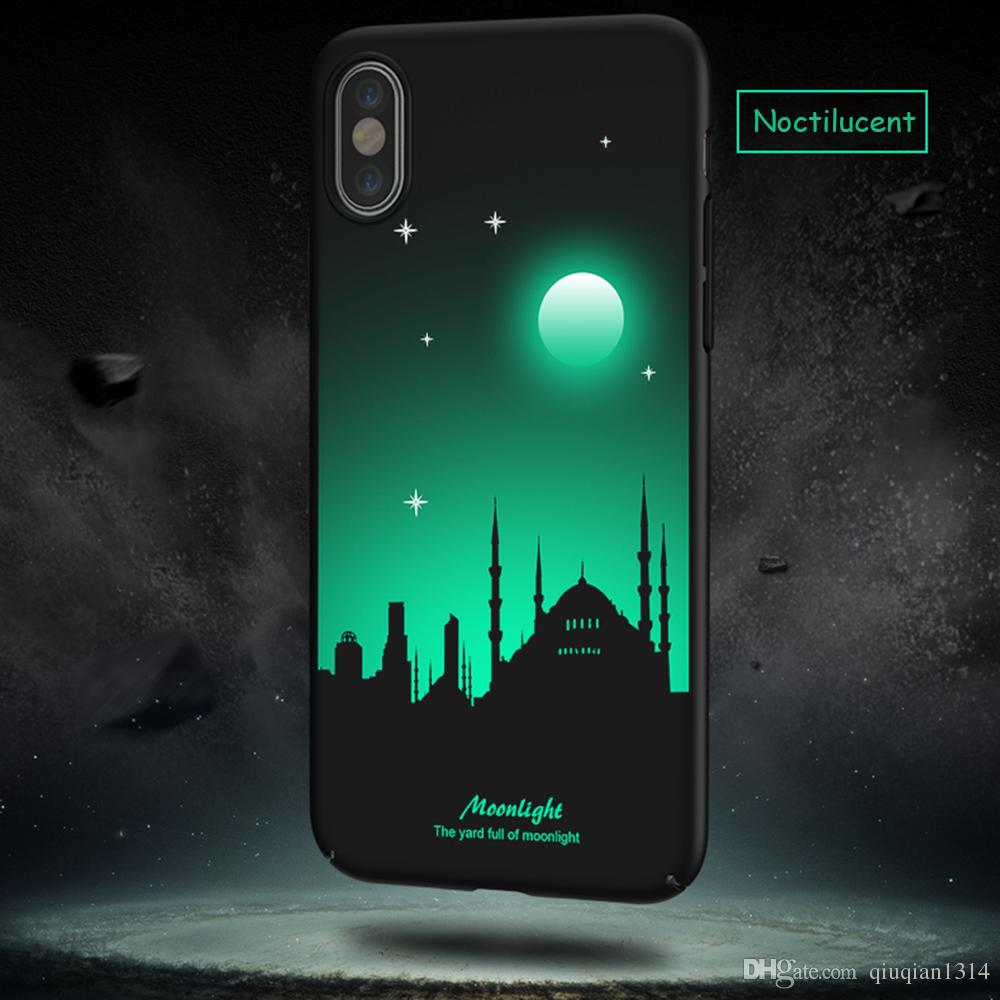 Luminous Protective Case for iPhone X Glow in the Dark 3D Relief Painting Fluorescent Color Changing Hard Case Cover Slim Fit Back Shell