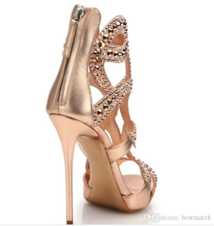 2018 Summer New Fashion Stiletto High heel Platform Large yard Shoes Sexy Banquet Sandals Gold Champagne US size 12 Summer Shoes
