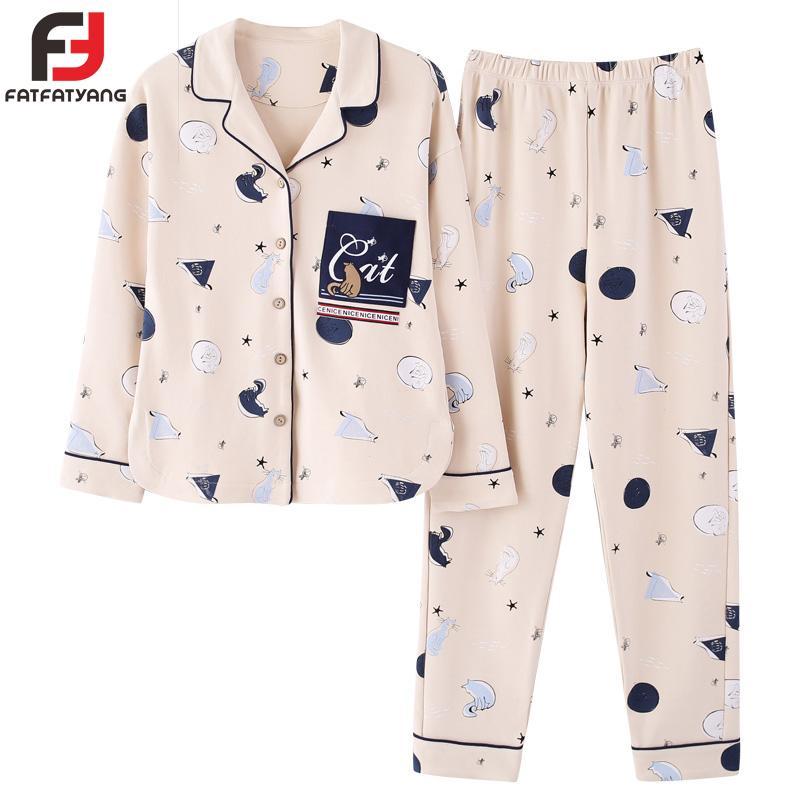 New Women Cartoon Animal Cotton Pajama Sets Long Sleeve Girl ... 0d8652491