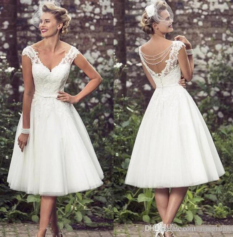 18fd8e6b79 2019 Tea Length Wedding Dresses Short A Line Pearls Lace Appliques Cap  Sleeves V Neck Backless Tulle Custom Made Bridal Gown Wedding Ball Gown  Dresses ...