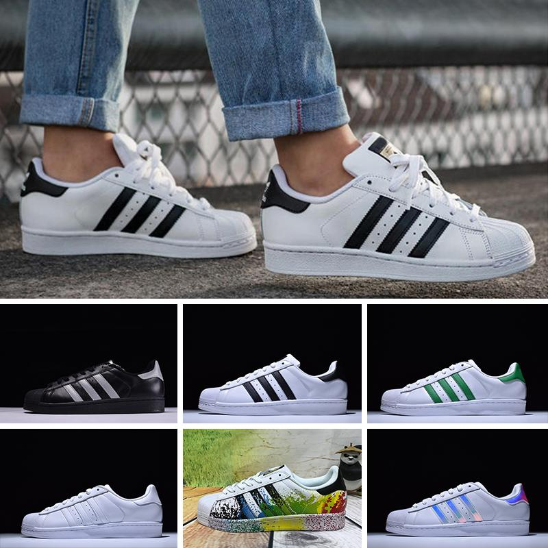 new concept a72a7 eb1ab Compre Adidas Superstar 80s Brand Shoes Originales Superstar Holograma  Blanco Iridiscente Junior Superstars 80s Pride Sneakers Super Star Mujer  Hombre ...