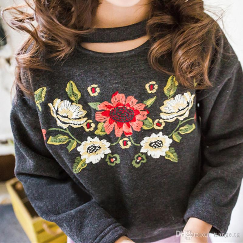 Autumn flowers - hand embroidered t-shirt 6kmJyFzZ