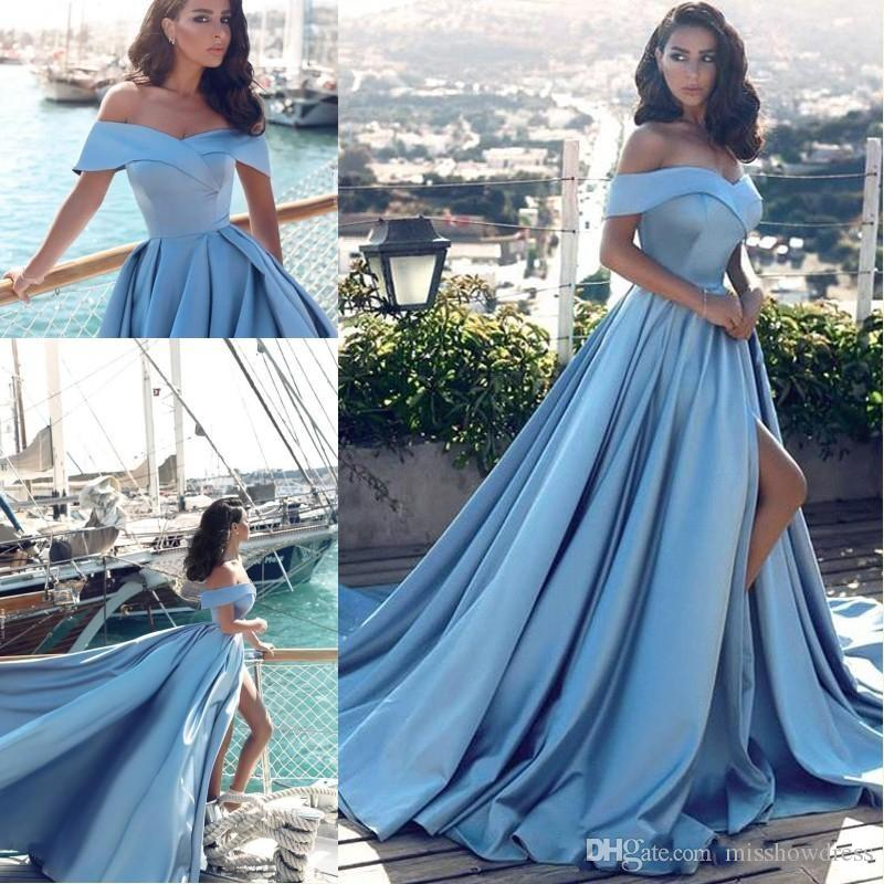6bfb3d14ccc6 2018 Elegant Sexy Light Sky Blue Off Shoulder A Line Prom Dresses High  Split Plus Size Pageant Gowns Long Arabic Satin Evening Gowns Ball Gown  Prom Dresses ...
