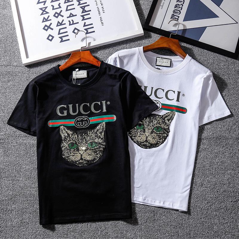 Compre Camisetas De Diseñador Para Hombre Camisetas De La Marca De Lujo De  Verano Nuevas Camisas Para Hombre De La Moda Impresión De La Letra Del Gato  ... f2a6377faa466