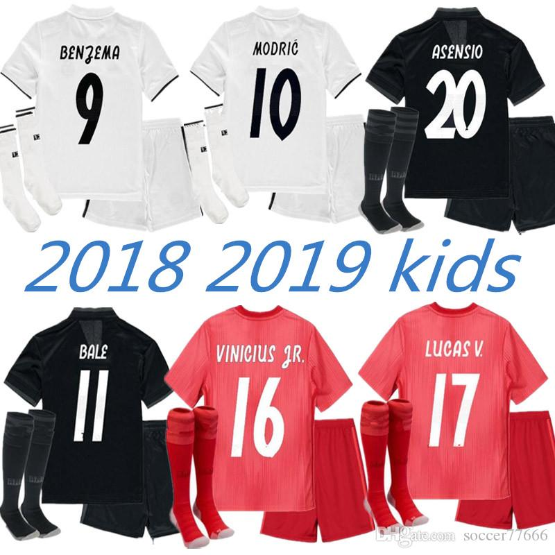 2019 Thai 2019 Kids Kit Real Madrid Football Jersey 18 19 Home Away Third  Boy Soccer Jerseys ISCO ASENSIO BALE KROOS Child 3rd Red Soccer Shirts From  ... 075753d8f