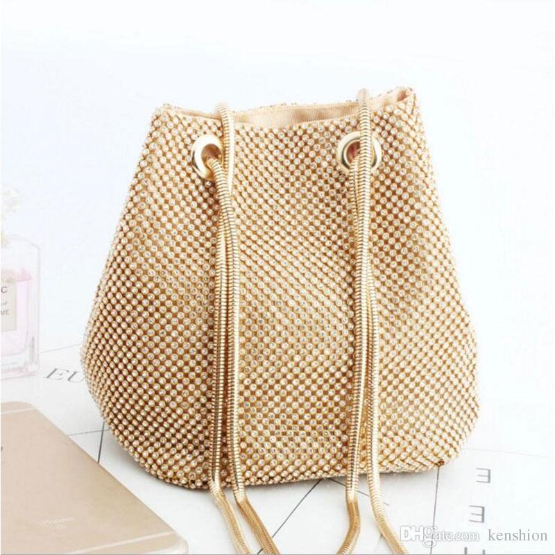 Summer Fashion Hot Women Bucket Bag Rhinestone Evening Bag Shinning Diamond  Handbags Chain Messenger Party Gold Shoulder Purse L3045 Handbags For Women  ... 148072ecf583