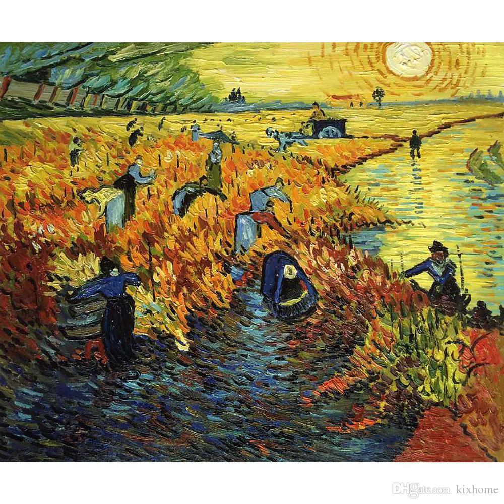57de5071e57 Compre Vincent Van Gogh Pinturas De Red Vineyards Em Arles II Handmade Lona  De Arte Para O Quarto De Alta Qualidade De Kixhome