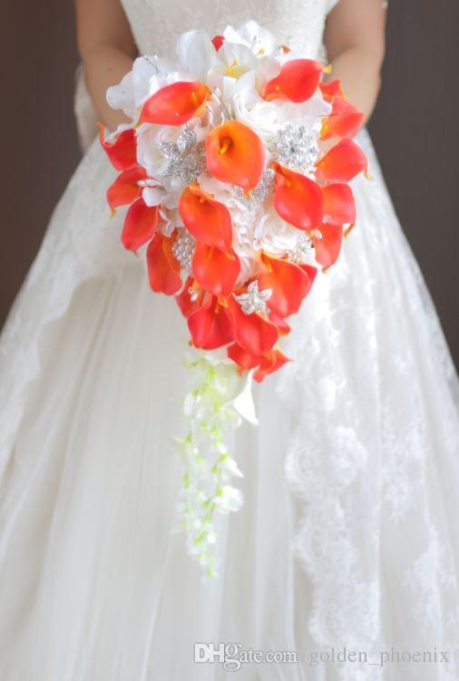 Custom drip wedding bouquet orange calla white rose diy brooch custom drip wedding bouquet orange calla white rose diy brooch bridal bouquet flower wedding bouquet bridal bouquet online with 6858piece on mightylinksfo