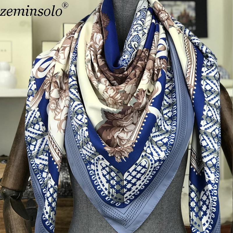 71892d10e473c Neck Scarf Shawl Women Floral Print Bandana 100% Twill Silk Scarves Square  Kerchief Foulards Femme Scarf Hijab Stole 130*130cm Yellow Bandanas Bandana  ...