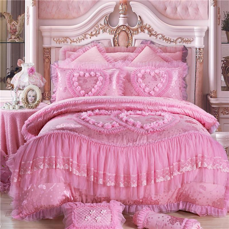4/6/Oriental Lace Red Pink Luxury Bedding Set Queen King Size Wedding Bed  Cotton Bed Sheets Duvet Cover Set Bedspreads Black Comforter Sets Queen  King Size ...