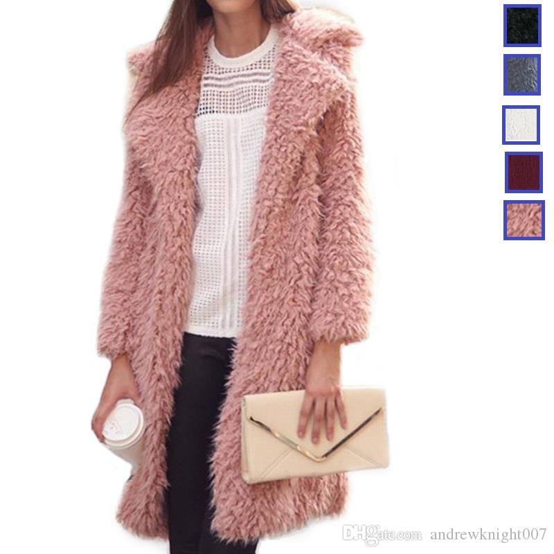 fe0679621e99 2019 New Women Long Wool Blend Cardigan Overcoat Ladies Winter Large Turn  Down Collar Long Sleeve Jacket Coat Outwear DK14BFY From Andrewknight007,  ...