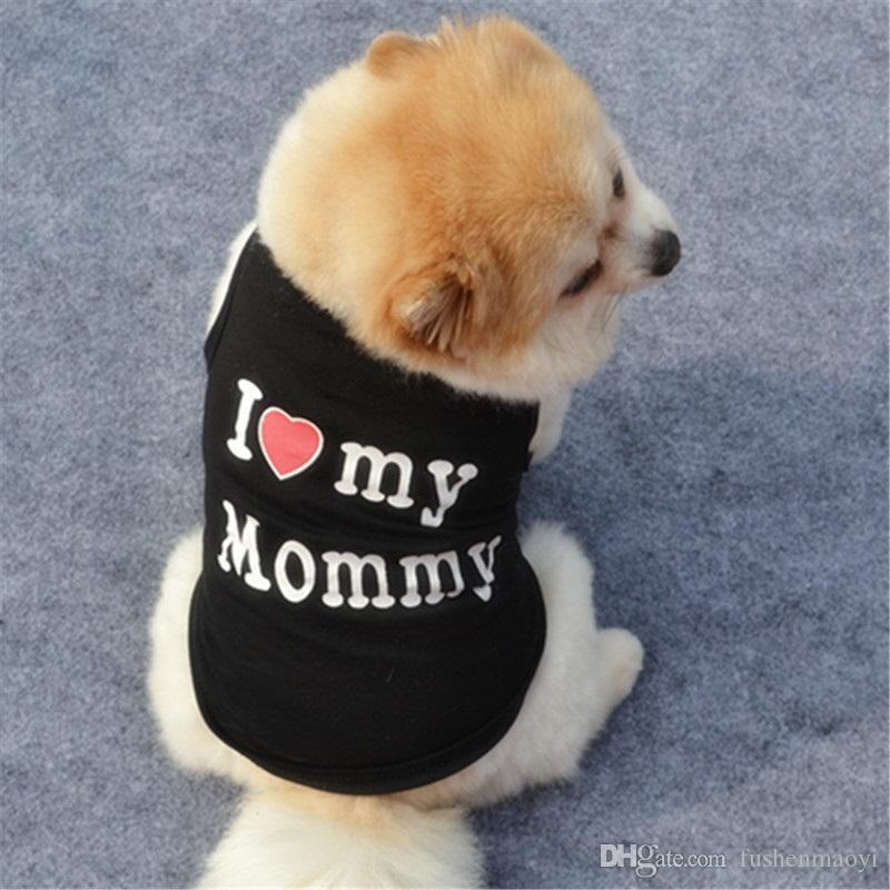 Moda Pet Filhote de Cachorro Verão Camisa Pequeno Cão Gato Roupas de Estimação Mamãe Papai T Shirt 5 Cores