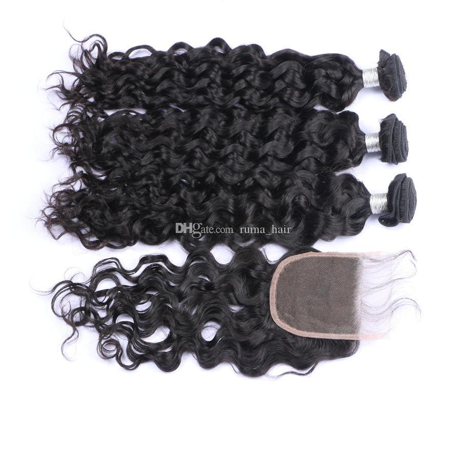 Malasio de la Virgen del pelo humano teje la onda profunda con el encierro profundo Encaje onda ondulado paquetes de pelo con el cordón de cierre /