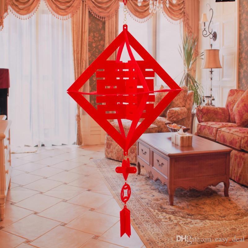 Diy que cuelga el año nuevo chino tradicional boda doble felicidad borla decoraciones bolas linternas rojas envío gratis ZA6199