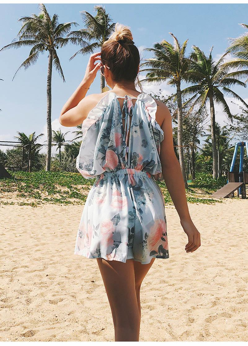 Summer women jumpsuits rompers hot-selling new V neck Printed sling jumpsuit Ruffled backless culottes Beach holiday