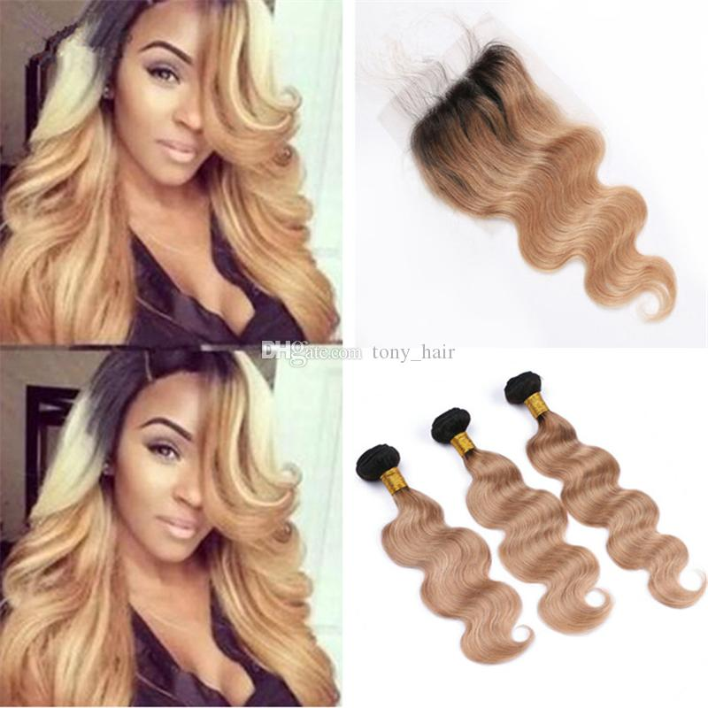 Two Tone 1b 27 Honey Blonde Ombre Hair Bundles With Lace Closure