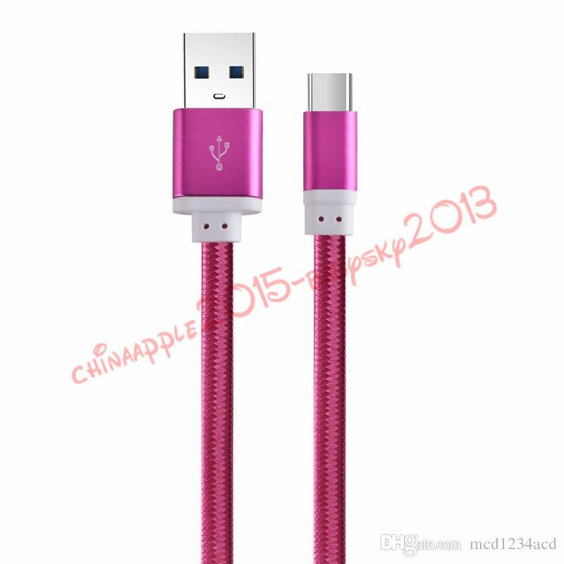 Cable micro usb 1.5M 5ft Aluminio Metal Trenzado Nylon Cables de datos Cargador Cable de carga para samsung s6 s7 s8 más htc lg