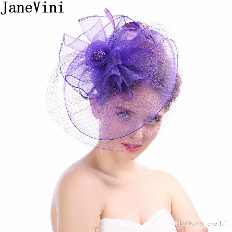 JaneVini Princess Womens Wedding Hat Holiday Fascinator Cocktail Hats  Elegant French Birdcage Face Veils Hair Pin Fascinators For Weddings Hair  Accessories ... b23e5fd5fc0