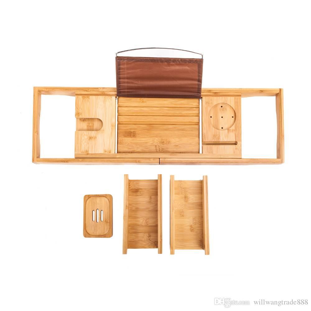 Portable Flexible Bamboo Bathtub Rack Bathroom Soap Wine Glass Tray ...