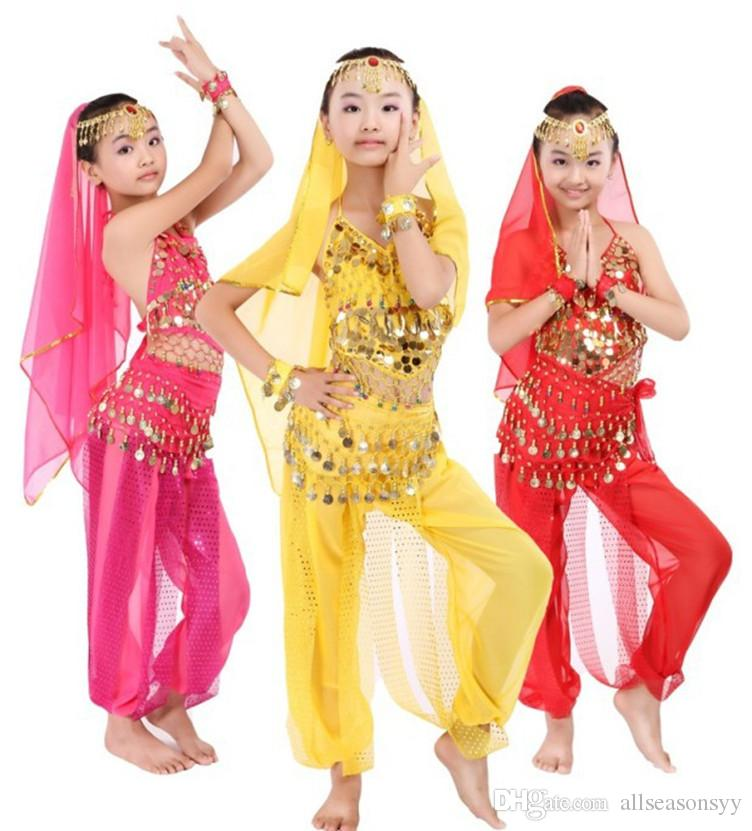 New Handmade Children Belly Dance Costumes Kids Belly Dancing Girls Bollywood Indian Performance Cloth Whole Set 3 Colors