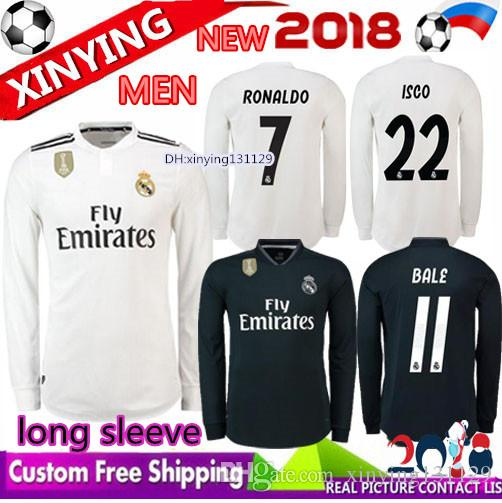 cadf803f0 FREE Ship 2018 2019 Real Madrid Long Sleeve Soccer Jersey 18 19 CR7 ...
