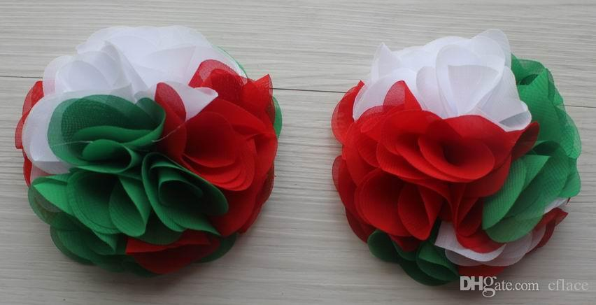 24 petals 10cm Christmas chiffon flowers for girls headbands,Christmas craft gift flowers,hair clip flowers