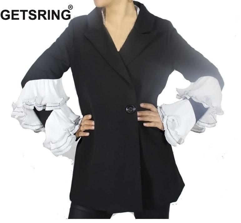 buy popular 62e2a a2bff GETSRING Frauen Blazer Jacke Mantel 2018 Frühling Damen Jacken Lange Damen  Blazer Langarm Anzug Vintage Mäntel Sexy Formale