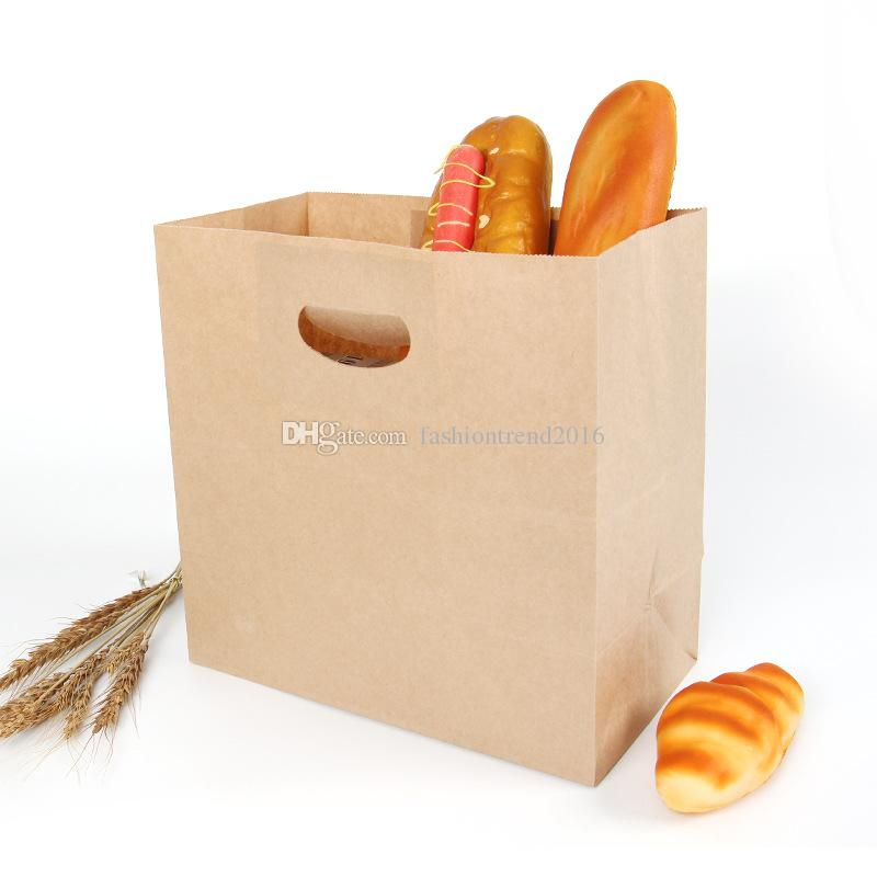 28x15x28cm Large Kraft Paper Bags Bread Snack Sanwich Wrap Boxes Takeout Food Packaging Gift Handle Bags