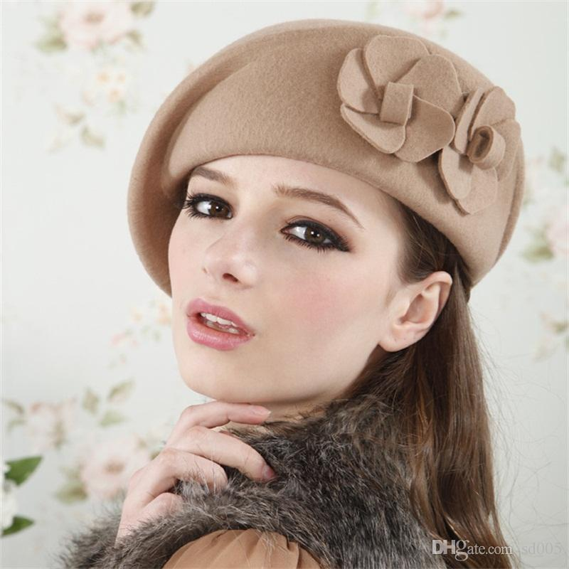 2019 Woolen Designer Hats Female Spring Autumn Winter Beret Sun Shading  Honeysuckle English Hat Lovely Seaside Holiday Small 32 5bd Cc From Sd005 f5ad94c64c4