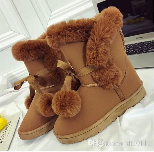 95c54281d427 Plus Size Warm Women Snow Boots Cute Suede Winter Shoes Fur Ball Mid Calf Boots  Female Boots Non Slip Snow Casual Shoe High Heels Heels From Dhl0111