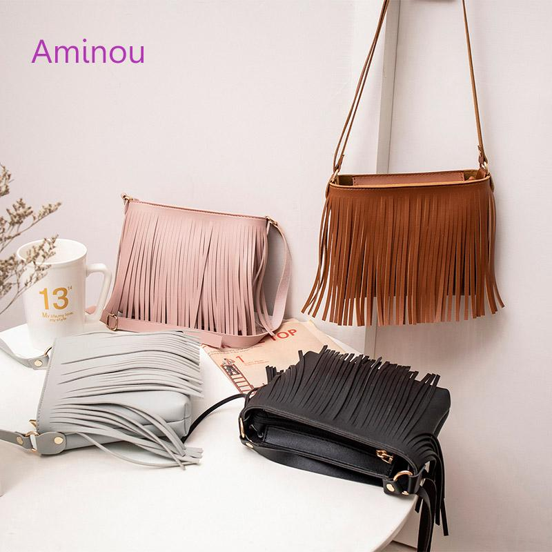 209cd7ae0d Aminou Small Casual Shoulder Bag For Teenager Girls Tassel Tote Hand Bag  Women Crossbody Handbags Flap Fashion Messenger Bags Mens Shoulder Bags  Shoulder ...