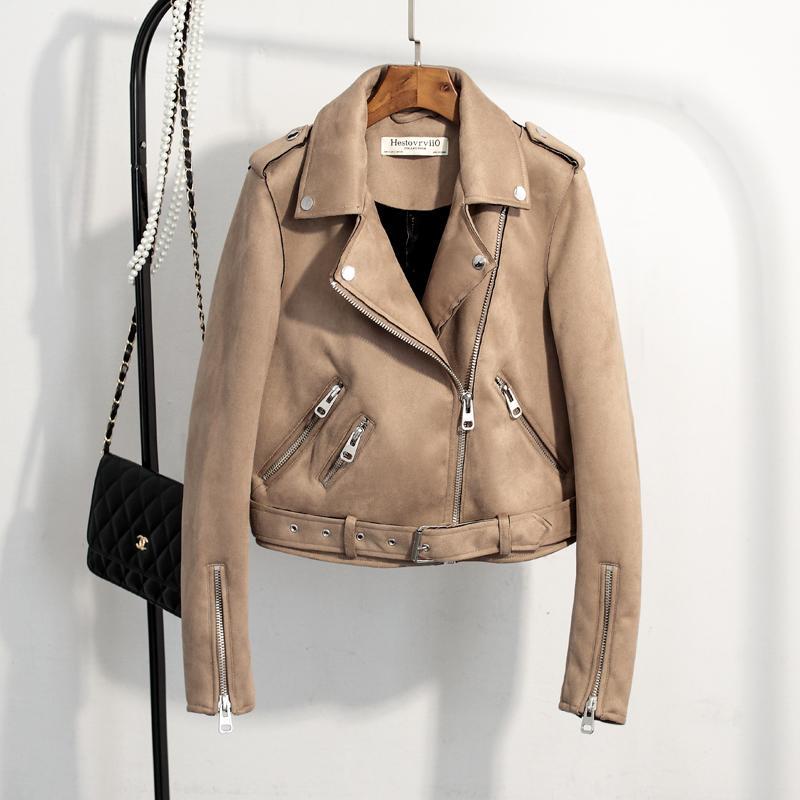 Autumn Women Faux Suede Jacket Slim PU Leather Jacket Motorcycle Leather Jackets White Biker Punk Outwear