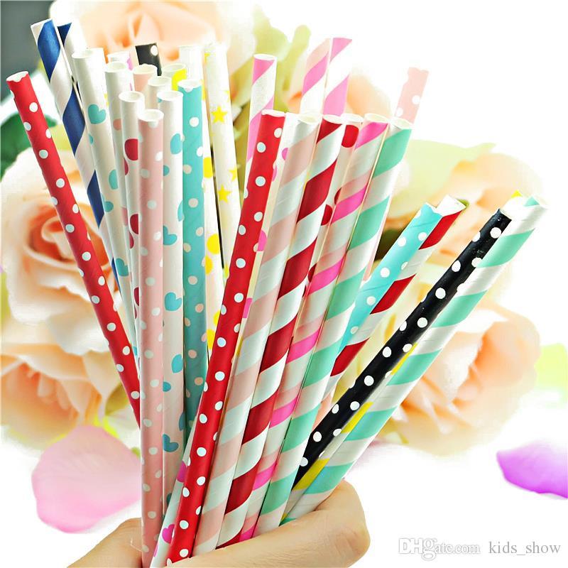 cannuccia di carta colorata cannucce striscia bere cannucce di carta Eco-friendly Cannucce la paglia di moda matrimonio partito