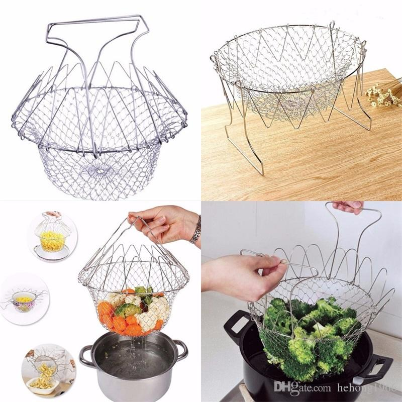Chef Basket Stainless Steel Multifunction Fried Foldable Fruit Telescopic Calathus Colanders Strainers Water Filter Rack Most Cheap 8 7tf V