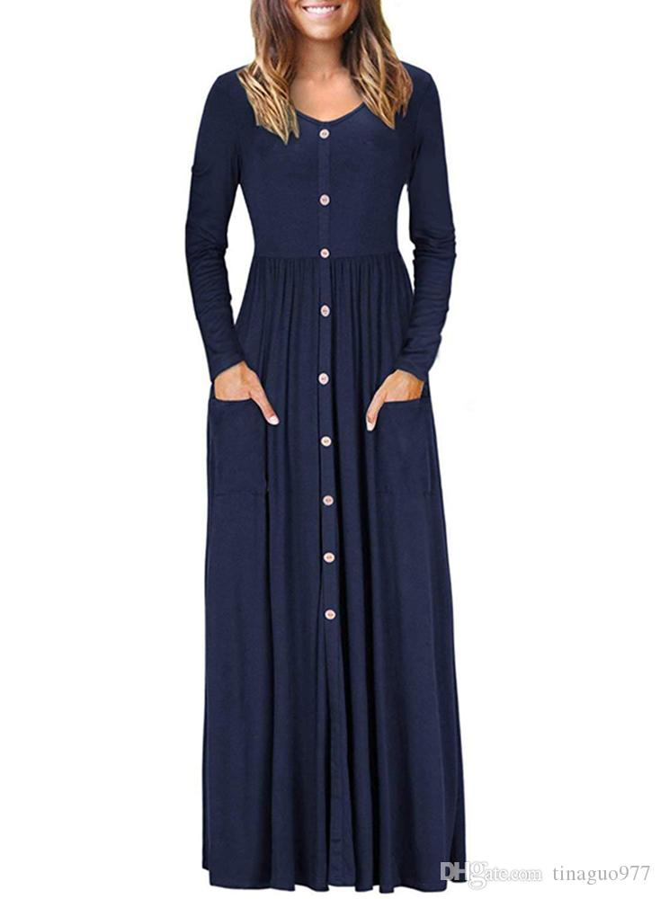 e6c3be08bdac Long Sleeve Women Dresses Button Down Maxi Dresses With Pockets Design V  Neck Loose Plain Casual Dresses Dress Style Formal Evening Gowns From  Tinaguo977