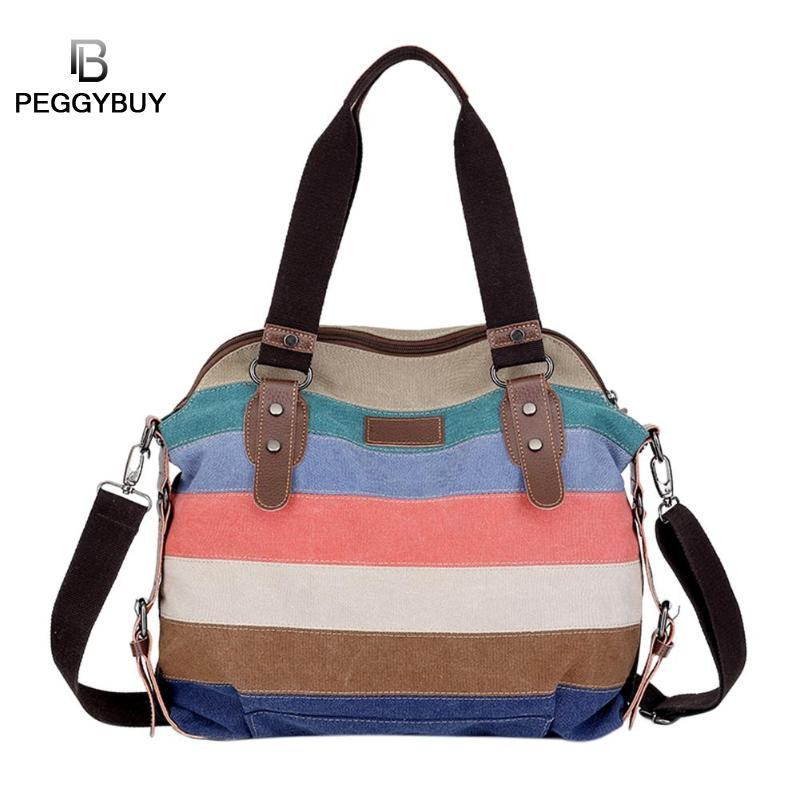 Women Canvas Stripe Travel Tote Shoulder Bag Famous Brand Handbag For Girls  Portable Casual Large Capacity Crossbody Bags 2018 Western Purses Leather  ... dfa86b3461858